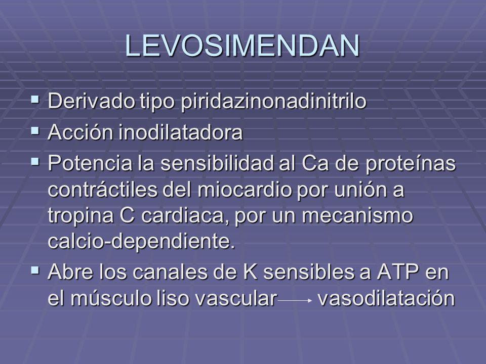 LEVOSIMENDAN Derivado tipo piridazinonadinitrilo Derivado tipo piridazinonadinitrilo Acción inodilatadora Acción inodilatadora Potencia la sensibilidad al Ca de proteínas contráctiles del miocardio por unión a tropina C cardiaca, por un mecanismo calcio-dependiente.