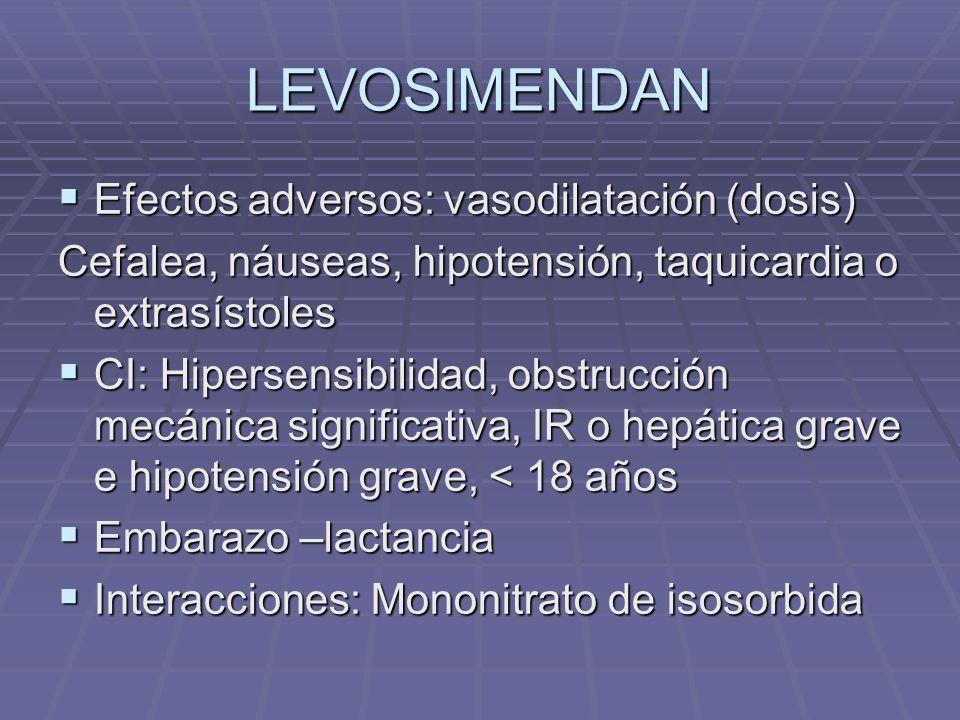 LEVOSIMENDAN Efectos adversos: vasodilatación (dosis) Efectos adversos: vasodilatación (dosis) Cefalea, náuseas, hipotensión, taquicardia o extrasístoles CI: Hipersensibilidad, obstrucción mecánica significativa, IR o hepática grave e hipotensión grave, < 18 años CI: Hipersensibilidad, obstrucción mecánica significativa, IR o hepática grave e hipotensión grave, < 18 años Embarazo –lactancia Embarazo –lactancia Interacciones: Mononitrato de isosorbida Interacciones: Mononitrato de isosorbida
