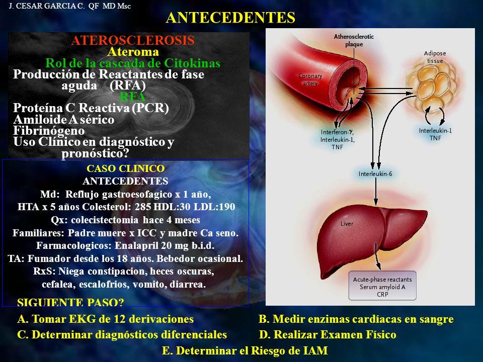 ANTECEDENTES SIGUIENTE PASO? A. Tomar EKG de 12 derivaciones B. Medir enzimas cardíacas en sangre C. Determinar diagnósticos diferenciales D. Realizar