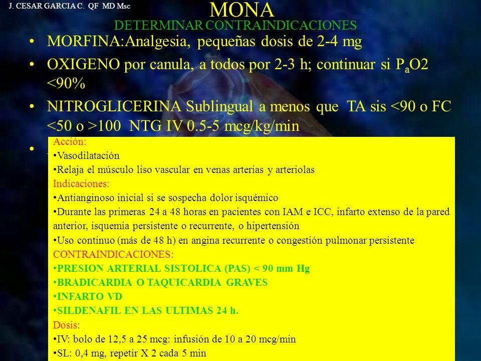 MORFINA:Analgesia, pequeñas dosis de 2-4 mg OXIGENO por canula, a todos por 2-3 h; continuar si P a O2 <90% NITROGLICERINA Sublingual a menos que TA s