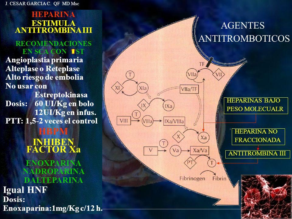 HEPARINA ESTIMULA ANTITROMBINA III RECOMENDACIONES EN SCA CON ST Angioplastia primaria Alteplase o Reteplase Alto riesgo de embolia No usar con Estrep
