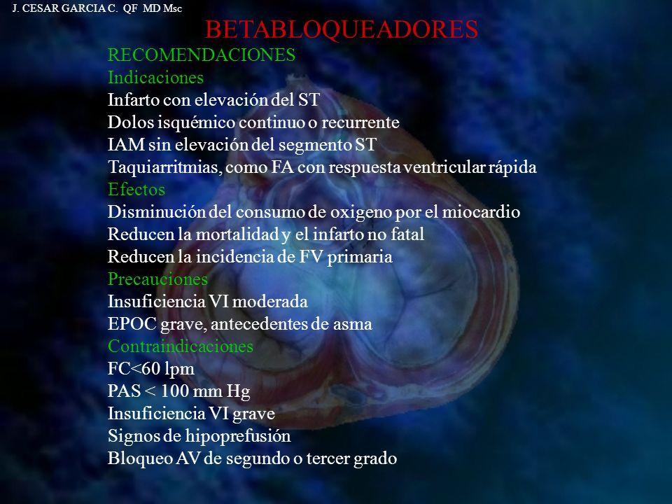 BETABLOQUEADORES RECOMENDACIONES Indicaciones Infarto con elevación del ST Dolos isquémico continuo o recurrente IAM sin elevación del segmento ST Taq