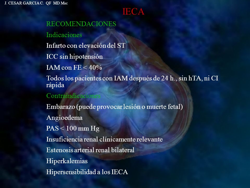 IECA RECOMENDACIONES Indicaciones Infarto con elevación del ST ICC sin hipotensión IAM con FE < 40% Todos los pacientes con IAM después de 24 h., sin