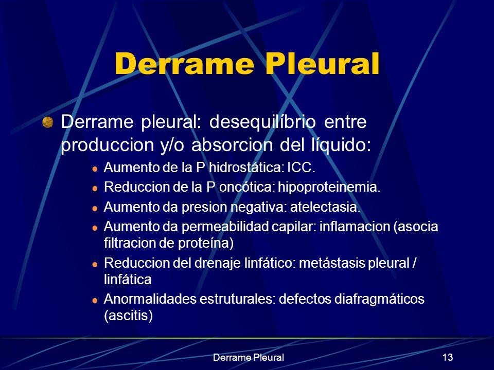 Derrame Pleural13 Derrame Pleural Derrame pleural: desequilíbrio entre produccion y/o absorcion del líquido: Aumento de la P hidrostática: ICC. Reducc