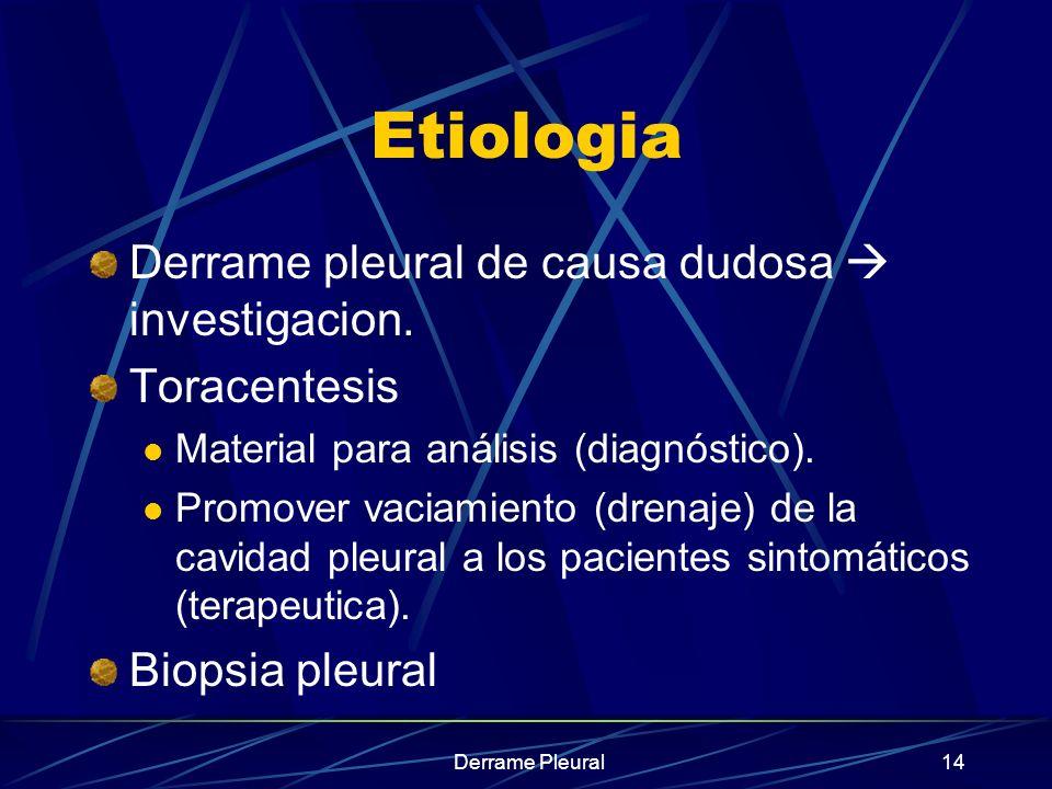 Derrame Pleural14 Etiologia Derrame pleural de causa dudosa investigacion. Toracentesis Material para análisis (diagnóstico). Promover vaciamiento (dr