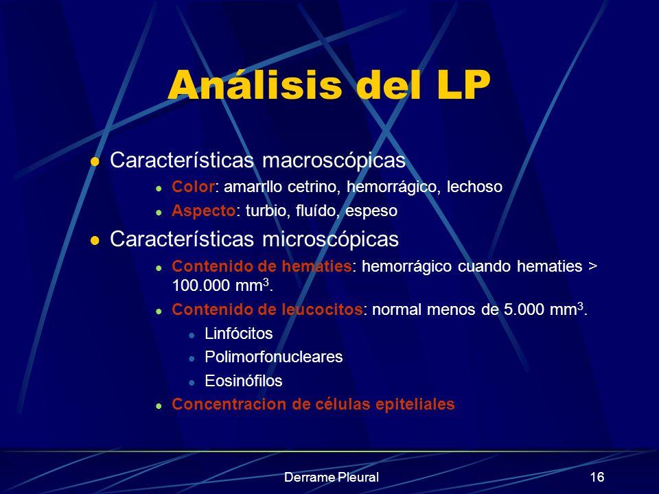Derrame Pleural16 Análisis del LP Características macroscópicas Color: amarrllo cetrino, hemorrágico, lechoso Aspecto: turbio, fluído, espeso Caracter