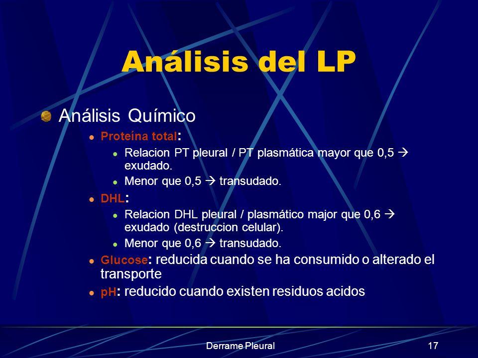 Derrame Pleural17 Análisis del LP Análisis Químico Proteína total : Relacion PT pleural / PT plasmática mayor que 0,5 exudado. Menor que 0,5 transudad