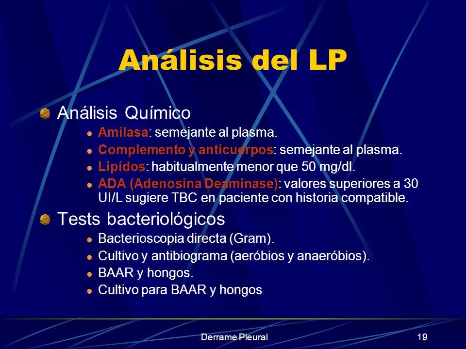 Derrame Pleural19 Análisis del LP Análisis Químico Amilasa: semejante al plasma. Complemento y anticuerpos: semejante al plasma. Lipídos: habitualment