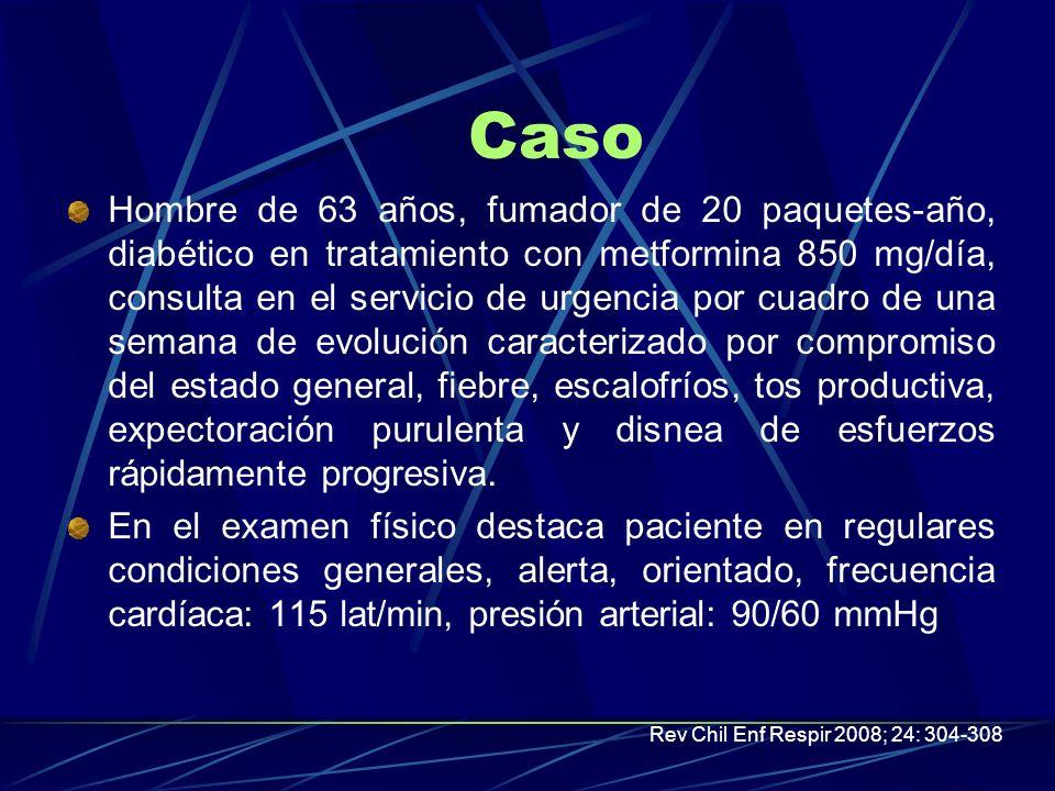 Caso Hombre de 63 años, fumador de 20 paquetes-año, diabético en tratamiento con metformina 850 mg/día, consulta en el servicio de urgencia por cuadro