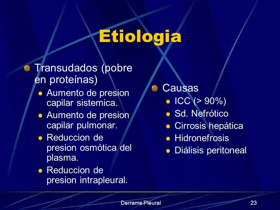 Derrame Pleural23 Etiologia Transudados (pobre en proteínas) Aumento de presion capilar sistemica. Aumento de presion capilar pulmonar. Reduccion de p