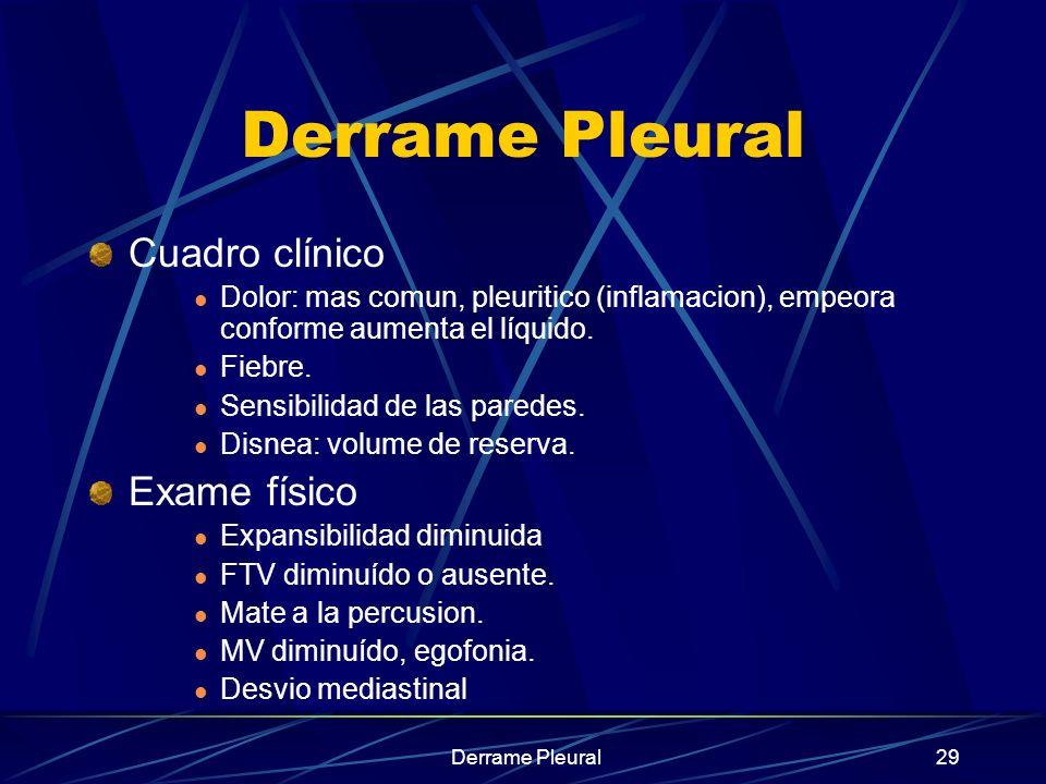 Derrame Pleural29 Derrame Pleural Cuadro clínico Dolor: mas comun, pleuritico (inflamacion), empeora conforme aumenta el líquido. Fiebre. Sensibilidad
