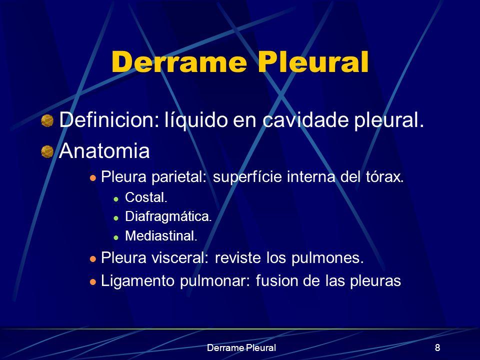 Derrame Paraneumónico no Complicado pH > 7,20 Glucosa > 60 mg/dl Tinción de Gram (-) Cultivos (-) LDH < 1000 UI/ml PMN entre 10.000 a 50.000/ml Derrame pleural entre 1 cm a 3 cms de tamaño en Rx de decúbito lateral o por ecografía pleural
