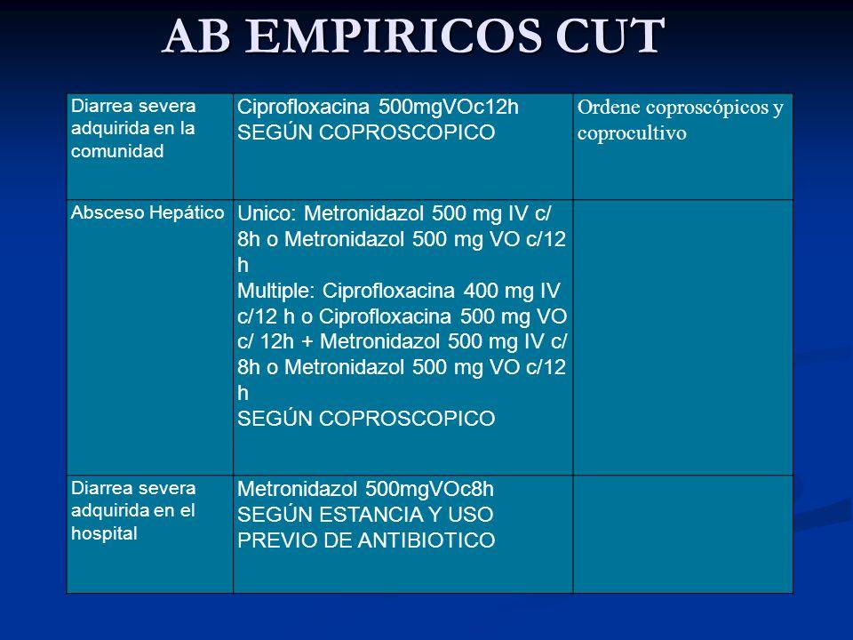 AB EMPIRICOS CUT Diarrea severa adquirida en la comunidad Ciprofloxacina 500mgVOc12h SEGÚN COPROSCOPICO Ordene coproscópicos y coprocultivo Absceso He