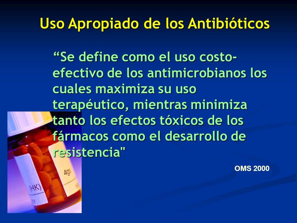 Se define como el uso costo- efectivo de los antimicrobianos los cuales maximiza su uso terapéutico, mientras minimiza tanto los efectos tóxicos de lo