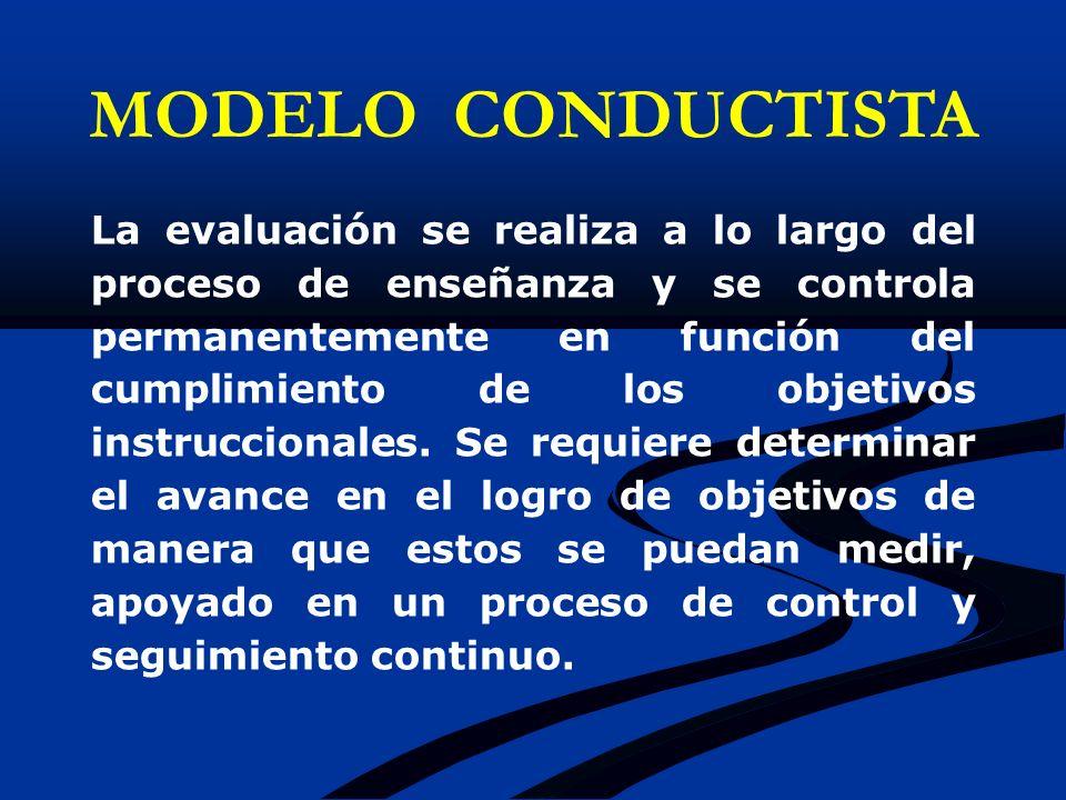 La evaluación se realiza a lo largo del proceso de enseñanza y se controla permanentemente en función del cumplimiento de los objetivos instruccionale