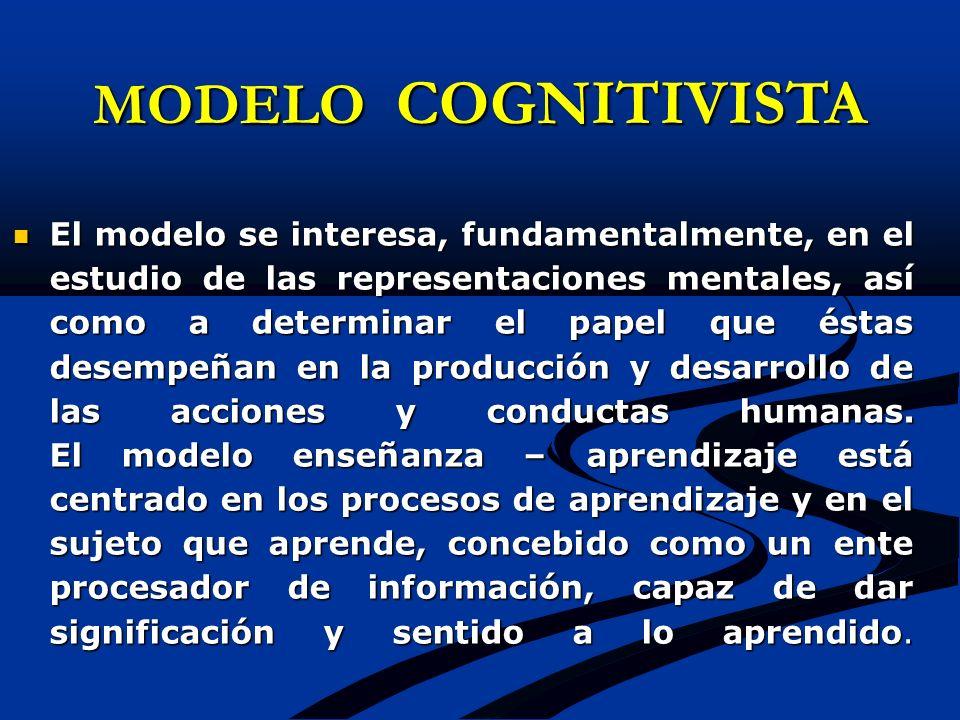 MODELO COGNITIVISTA El modelo se interesa, fundamentalmente, en el estudio de las representaciones mentales, así como a determinar el papel que éstas