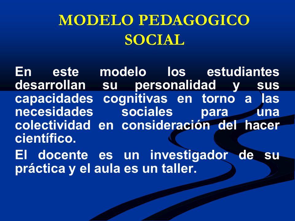 En este modelo los estudiantes desarrollan su personalidad y sus capacidades cognitivas en torno a las necesidades sociales para una colectividad en c