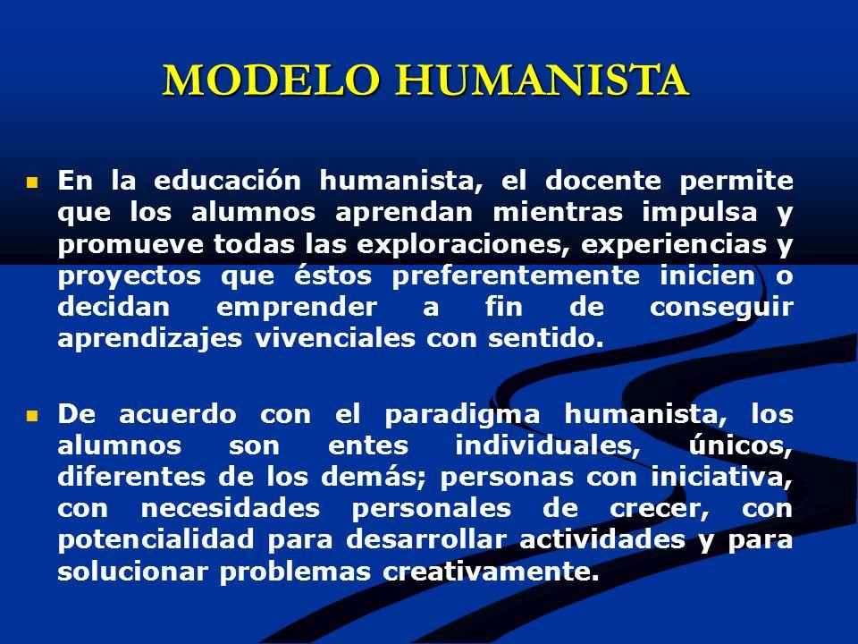 MODELO HUMANISTA En la educación humanista, el docente permite que los alumnos aprendan mientras impulsa y promueve todas las exploraciones, experienc