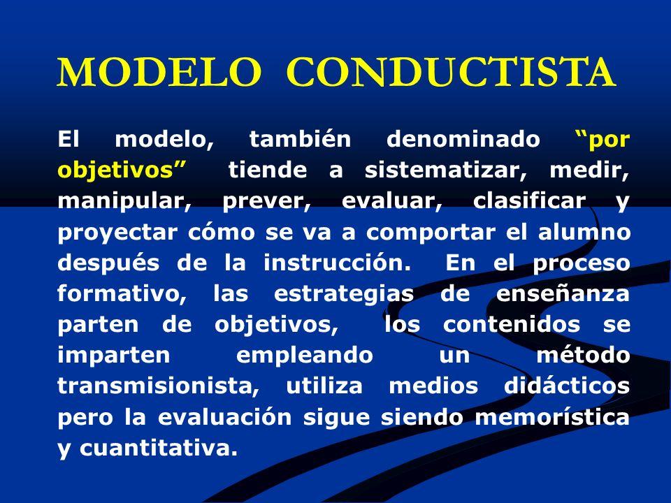 El modelo, también denominado por objetivos tiende a sistematizar, medir, manipular, prever, evaluar, clasificar y proyectar cómo se va a comportar el