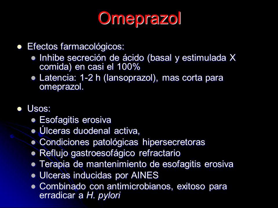 Omeprazol y otros prazoles (profármacos) Después de su absorción en duodeno, se transportan al ambiente ácido de los canalículos de las células pariet