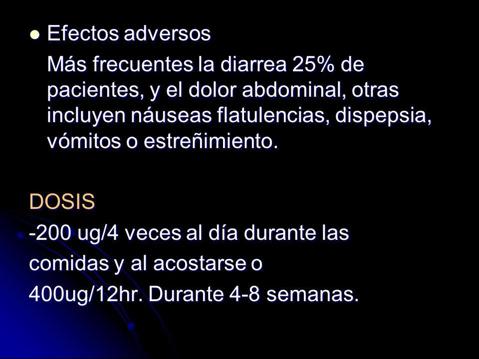 Dosis menores de los derivados de las prostaglandinas actúan únicamente como protector de la mucosa, incluyen: Dosis menores de los derivados de las p