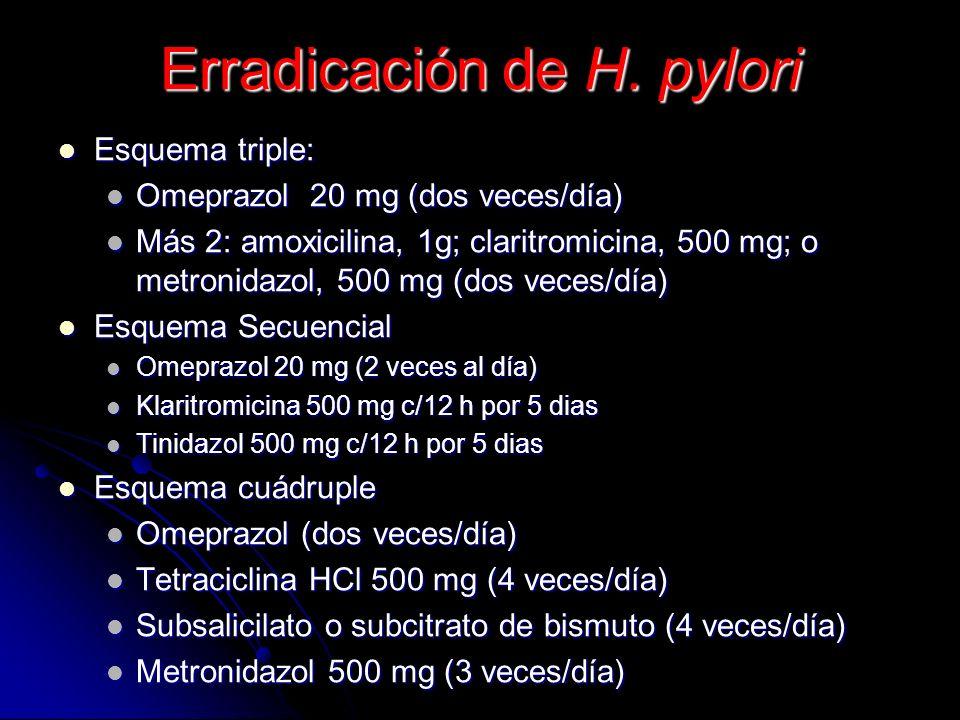 Comparación de la eficacia Inhibidor de la bomba de protones > antagonistas del receptor H 2 o anticolingérgico > sucralfato antiácidos Inhibidor de l