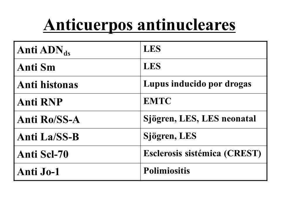 Anti ADN ds LES Anti Sm LES Anti histonas Lupus inducido por drogas Anti RNP EMTC Anti Ro/SS-A Sjögren, LES, LES neonatal Anti La/SS-B Sjögren, LES An