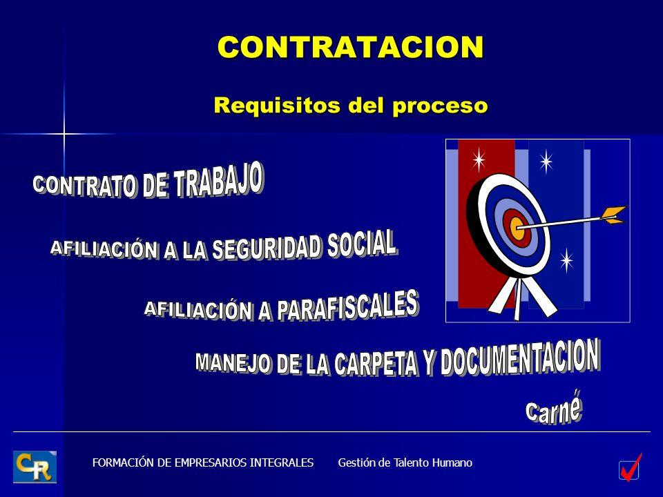 FORMACIÓN DE EMPRESARIOS INTEGRALES CONTRATACION Requisitos del proceso Gestión de Talento Humano