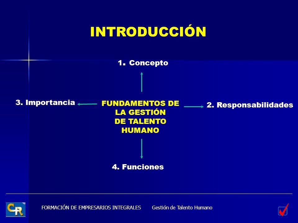 FORMACIÓN DE EMPRESARIOS INTEGRALESGestión de Talento Humano FUNDAMENTOS DE LA GESTIÓN DE TALENTO HUMANO INTRODUCCIÓN 1. Concepto 2. Responsabilidades