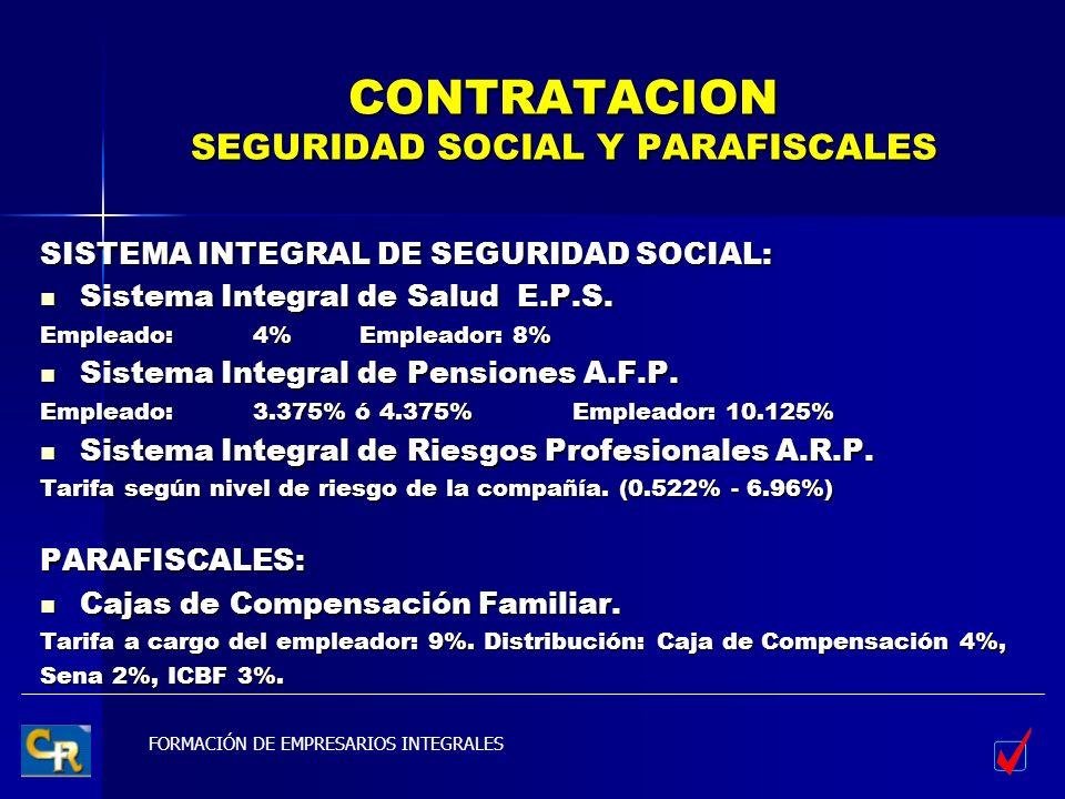 FORMACIÓN DE EMPRESARIOS INTEGRALES CONTRATACION SEGURIDAD SOCIAL Y PARAFISCALES SISTEMA INTEGRAL DE SEGURIDAD SOCIAL: Sistema Integral de Salud E.P.S