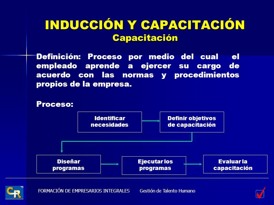 FORMACIÓN DE EMPRESARIOS INTEGRALES INDUCCIÓN Y CAPACITACIÓN Capacitación Definición: Proceso por medio del cual el empleado aprende a ejercer su carg