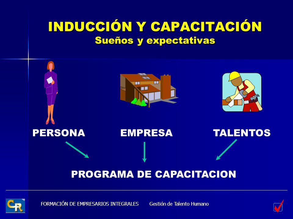 FORMACIÓN DE EMPRESARIOS INTEGRALES INDUCCIÓN Y CAPACITACIÓN Sueños y expectativas PERSONAEMPRESATALENTOS Gestión de Talento Humano PROGRAMA DE CAPACI
