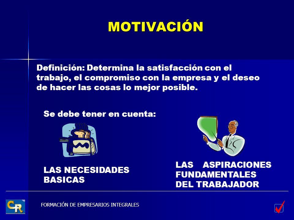 FORMACIÓN DE EMPRESARIOS INTEGRALES MOTIVACIÓN Definición: Determina la satisfacción con el trabajo, el compromiso con la empresa y el deseo de hacer