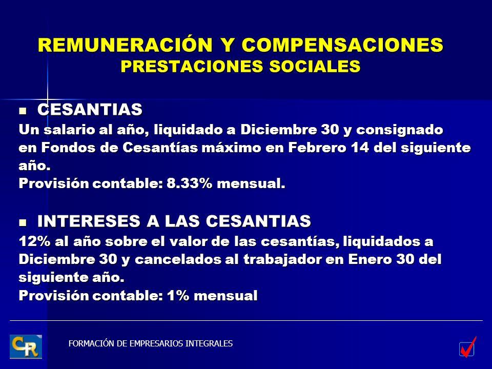FORMACIÓN DE EMPRESARIOS INTEGRALES REMUNERACIÓN Y COMPENSACIONES PRESTACIONES SOCIALES CESANTIAS CESANTIAS Un salario al año, liquidado a Diciembre 3