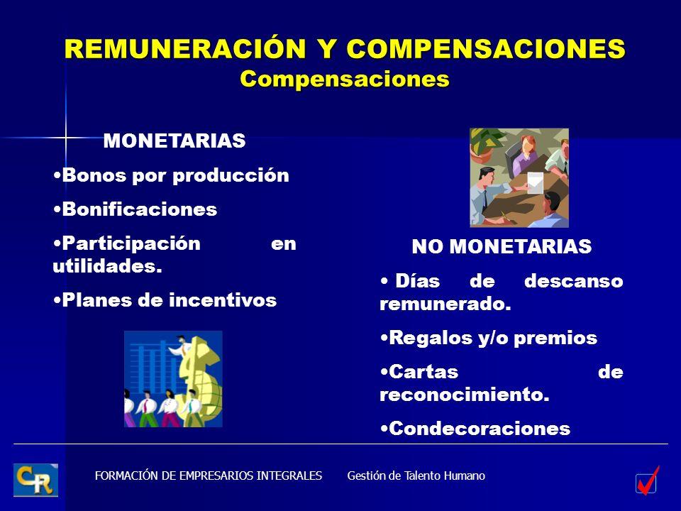 FORMACIÓN DE EMPRESARIOS INTEGRALES REMUNERACIÓN Y COMPENSACIONES Compensaciones Gestión de Talento Humano MONETARIAS Bonos por producción Bonificacio