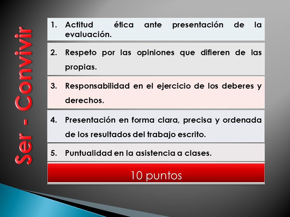 1.Actitud ética ante presentación de la evaluación.