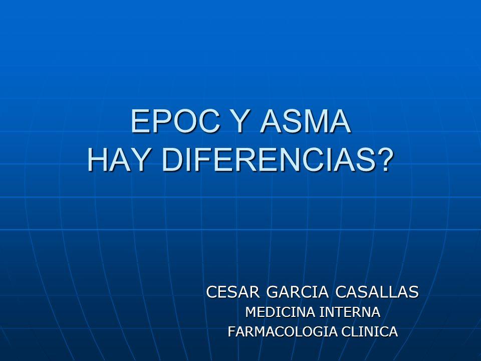 EPOC Y ASMA HAY DIFERENCIAS? CESAR GARCIA CASALLAS MEDICINA INTERNA FARMACOLOGIA CLINICA