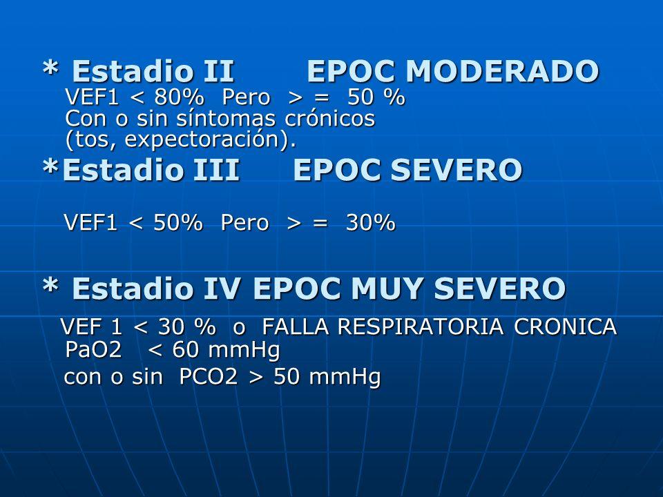 * Estadio II EPOC MODERADO VEF1 = 50 % Con o sin síntomas crónicos (tos, expectoración). *Estadio III EPOC SEVERO VEF1 = 30% VEF1 = 30% * Estadio IV E