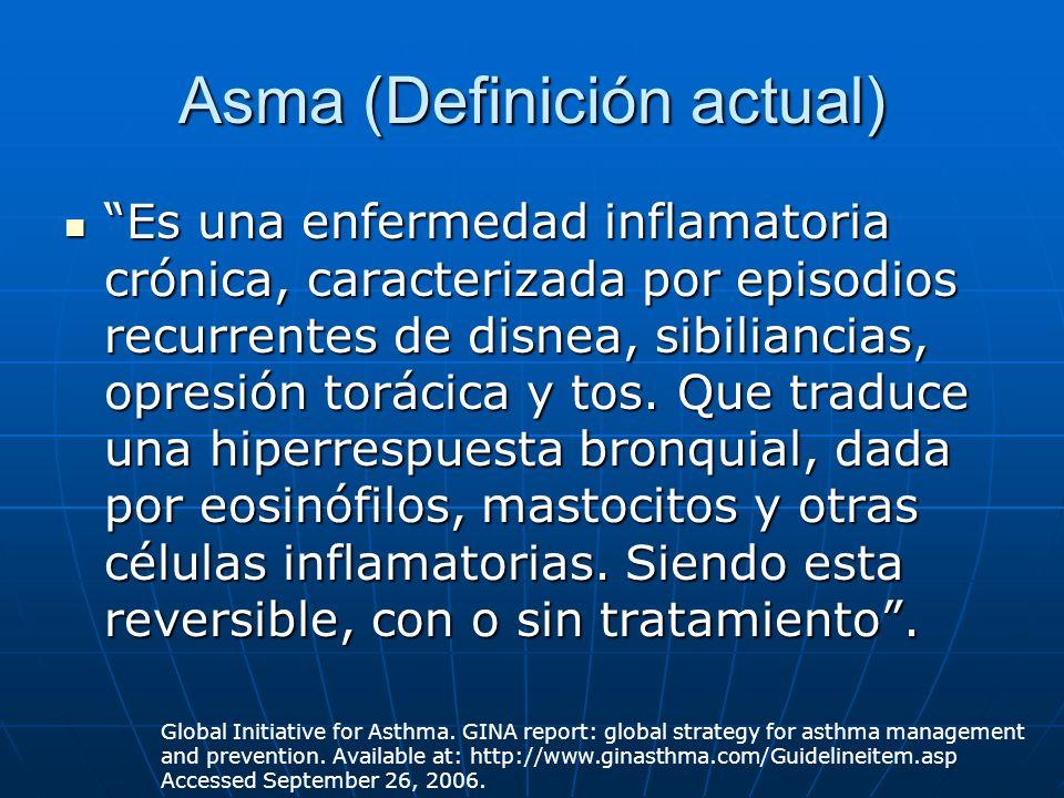 Asma (Definición actual) Es una enfermedad inflamatoria crónica, caracterizada por episodios recurrentes de disnea, sibiliancias, opresión torácica y