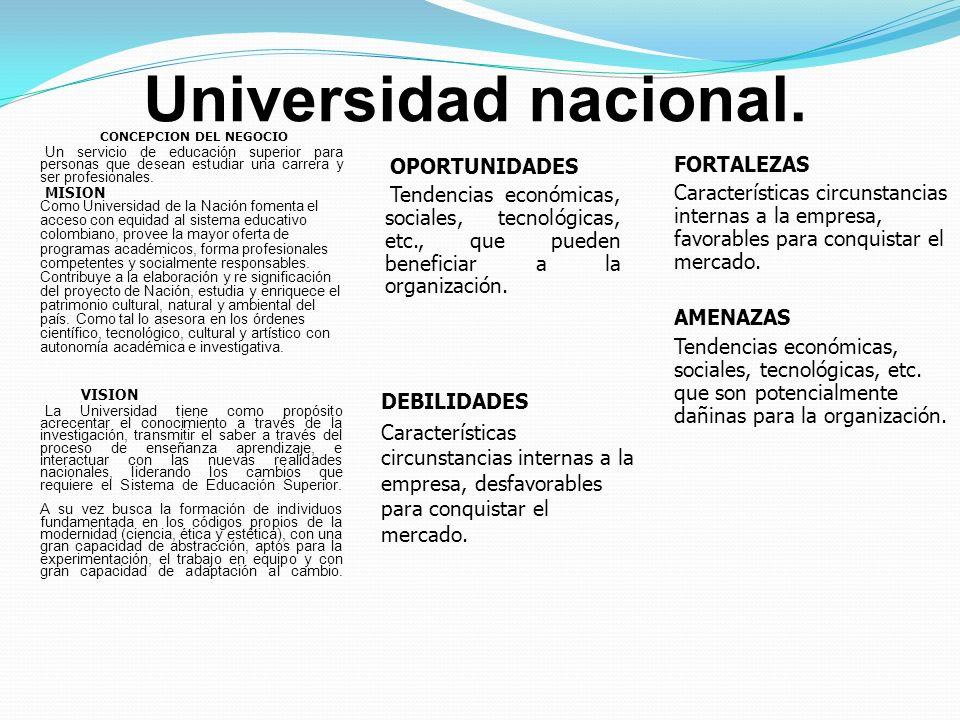 Universidad nacional. CONCEPCION DEL NEGOCIO Un servicio de educación superior para personas que desean estudiar una carrera y ser profesionales. MISI