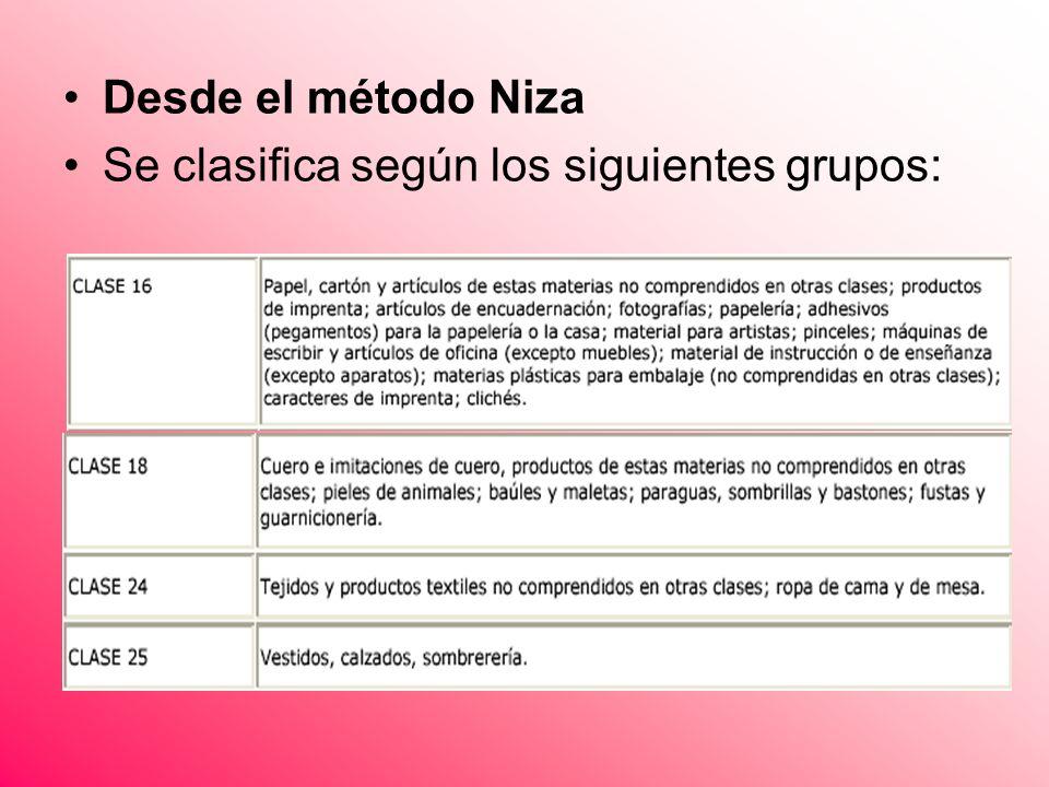 Desde el método Niza Se clasifica según los siguientes grupos: