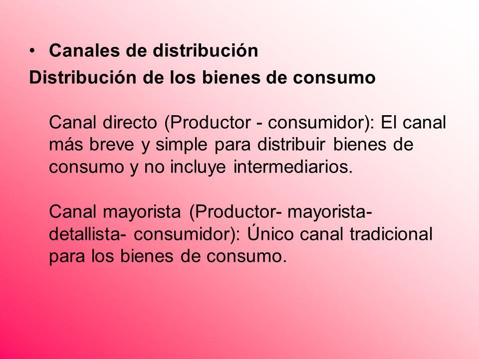 Canales de distribución Distribución de los bienes de consumo Canal directo (Productor - consumidor): El canal más breve y simple para distribuir bien