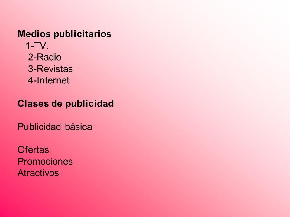 Medios publicitarios 1-TV. 2-Radio 3-Revistas 4-Internet Clases de publicidad Publicidad básica Ofertas Promociones Atractivos