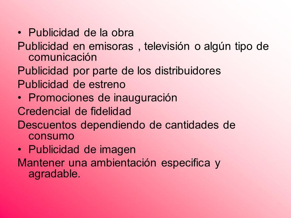 Publicidad de la obra Publicidad en emisoras, televisión o algún tipo de comunicación Publicidad por parte de los distribuidores Publicidad de estreno