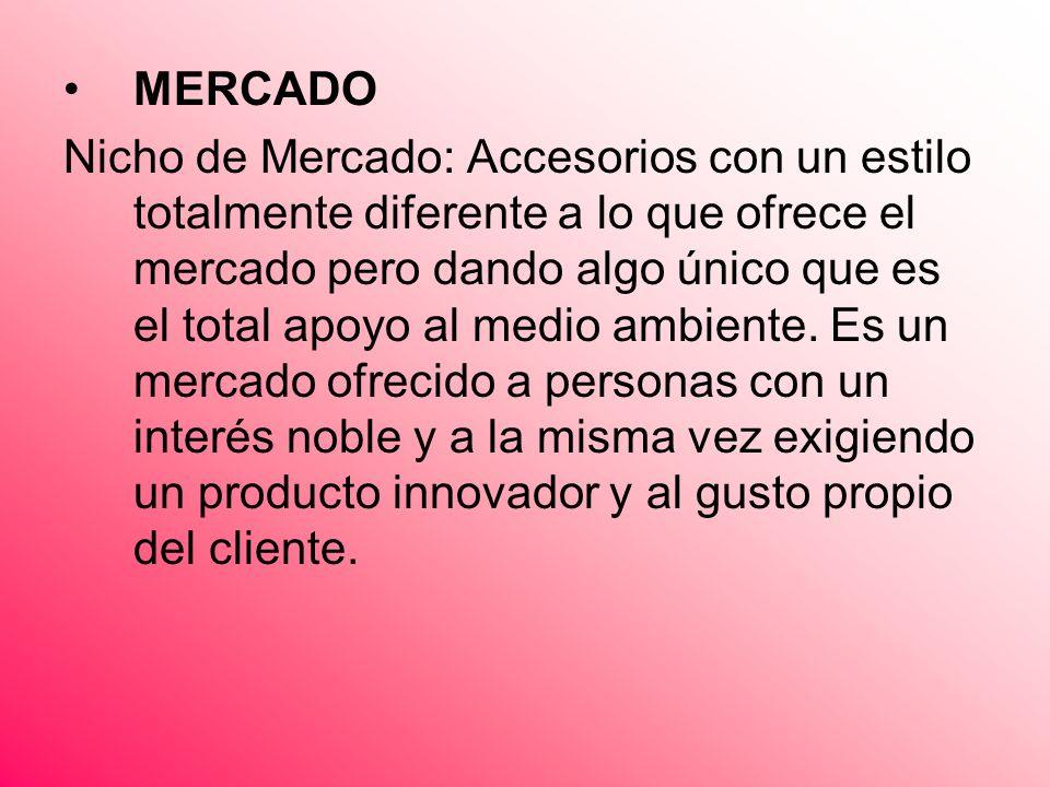 MERCADO Nicho de Mercado: Accesorios con un estilo totalmente diferente a lo que ofrece el mercado pero dando algo único que es el total apoyo al medi