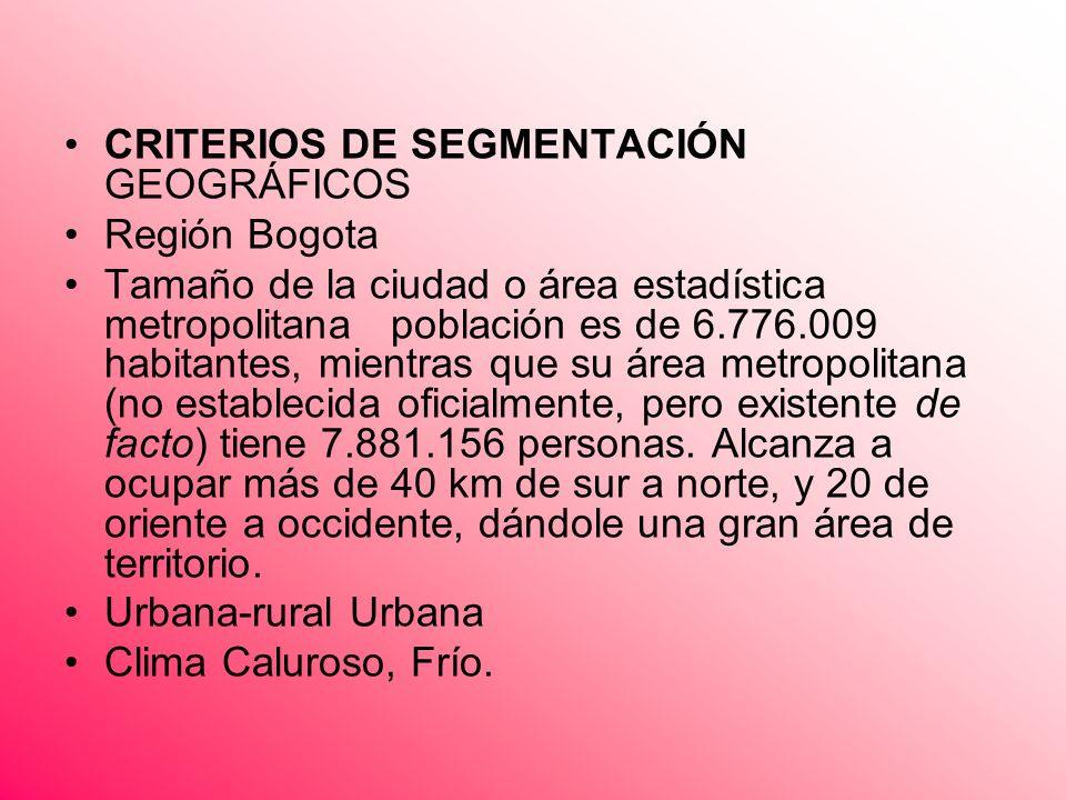 CRITERIOS DE SEGMENTACIÓN GEOGRÁFICOS Región Bogota Tamaño de la ciudad o área estadística metropolitana población es de 6.776.009 habitantes, mientra