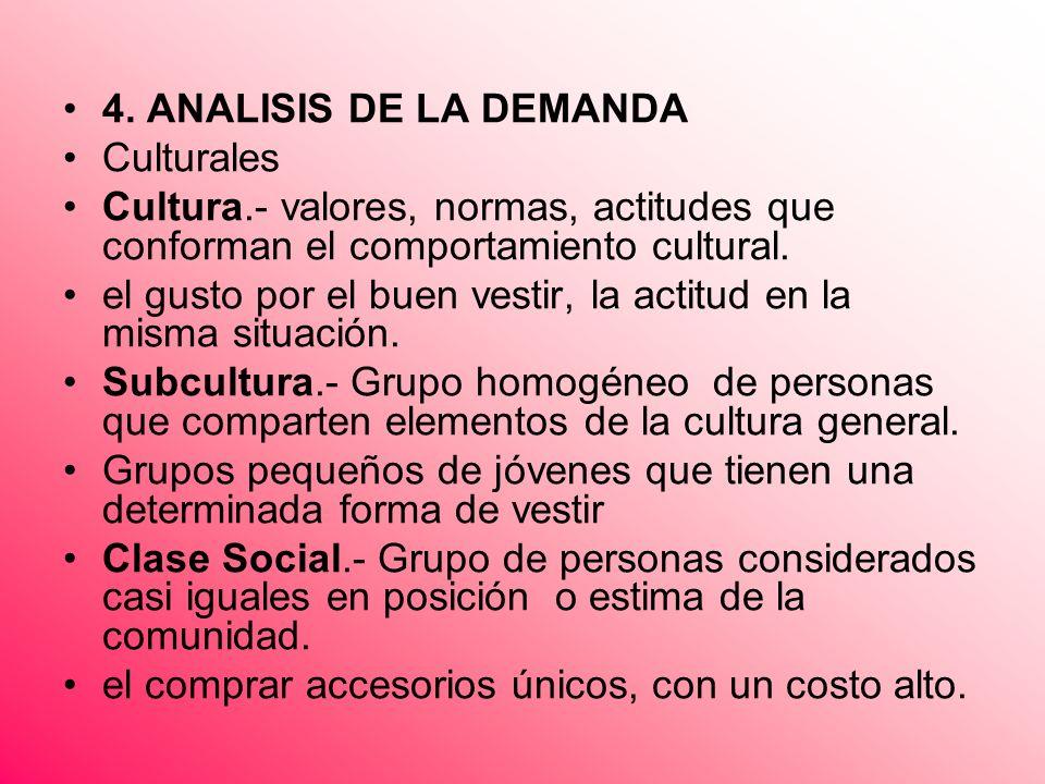 4. ANALISIS DE LA DEMANDA Culturales Cultura.- valores, normas, actitudes que conforman el comportamiento cultural. el gusto por el buen vestir, la ac