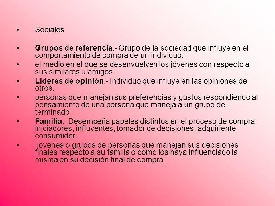 Sociales Grupos de referencia.- Grupo de la sociedad que influye en el comportamiento de compra de un individuo. el medio en el que se desenvuelven lo