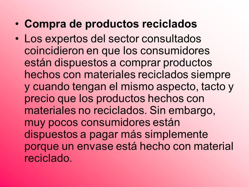 Compra de productos reciclados Los expertos del sector consultados coincidieron en que los consumidores están dispuestos a comprar productos hechos co