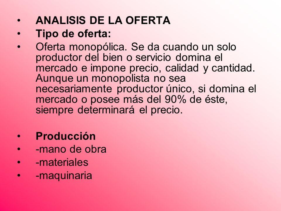 ANALISIS DE LA OFERTA Tipo de oferta: Oferta monopólica. Se da cuando un solo productor del bien o servicio domina el mercado e impone precio, calidad